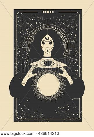 Mystical Tarot Card With A Fortuneteller And A Magic Ball. Witch On A Black Background With Stars. V