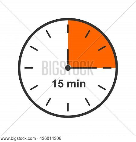 Clock Icon With 15 Minute Time Interval. Quarter Of Hour. Countdown Timer Or Stopwatch Symbol Isolat