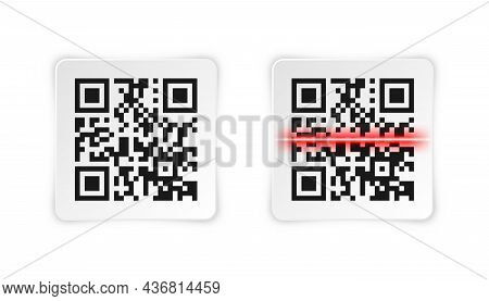 Realistic Qr Code Sticker. Identification Tracking Code. Serial Number, Product Id With Digital Info