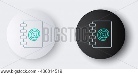 Line Address Book Icon Isolated On Grey Background. Notebook, Address, Contact, Directory, Phone, Te