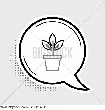 Line Flowers In Pot Icon Isolated On Grey Background. Plant Growing In A Pot. Potted Plant Sign. Col
