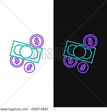 Line Stacks Paper Money Cash And Coin Money With Dollar Symbol Icon Isolated On White And Black Back