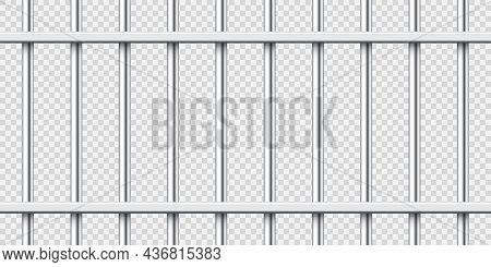 Realistic Metal Prison Bars. Detailed Jail Cage, Prison Iron Fence. Criminal Background Mockup. Crea