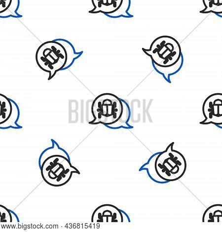 Line System Bug Concept Icon Isolated Seamless Pattern On White Background. Code Bug Concept. Bug In