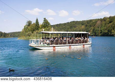 Plitvice Lakes National Park, Croatia - September 9, 2012: A Touristic Boat In The Plitvice Lakes Na