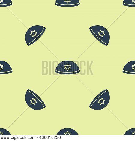 Blue Jewish Kippah With Star Of David Icon Isolated Seamless Pattern On Yellow Background. Jewish Ya