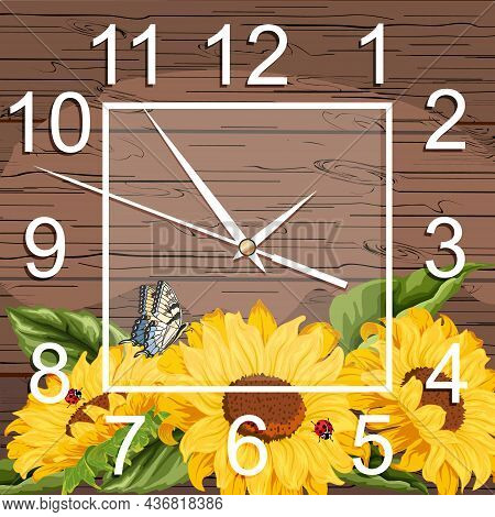 Watch Dial With Floral Decoration.illustration With A Clock And Sunflowers On A Wooden Background.