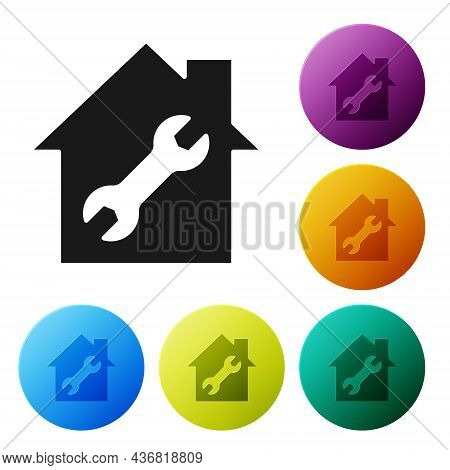 Black House Or Home With Wrench Icon Isolated On White Background. Adjusting, Service, Setting, Main