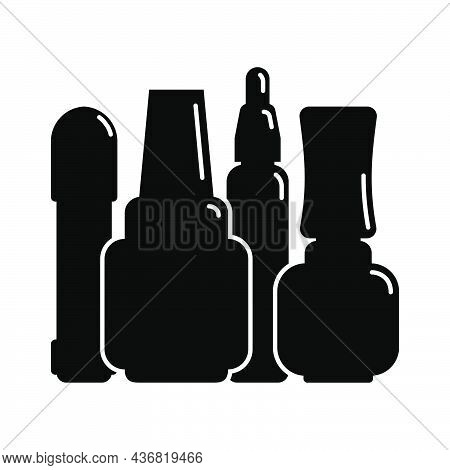 Four Cosmetic Container Nail Polish Gel Oil In Row. Female Makeup Product. Plastic Or Glass Bottle.