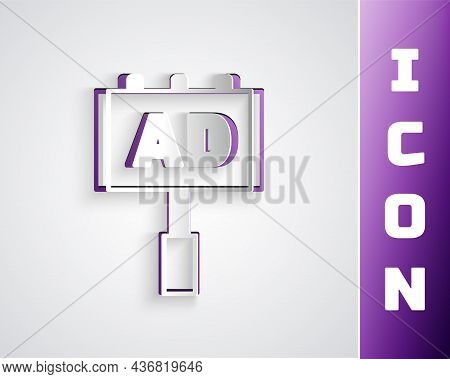 Paper Cut Advertising Icon Isolated On Grey Background. Concept Of Marketing And Promotion Process.