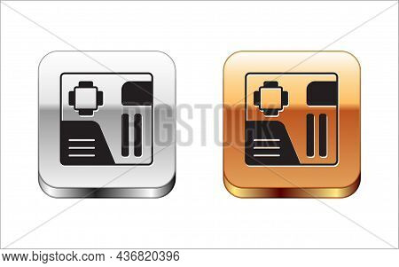 Black Electronic Computer Components Motherboard Digital Chip Integrated Science Icon Isolated On Wh