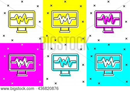 Set Computer Monitor With Cardiogram Icon Isolated On Color Background. Monitoring Icon. Ecg Monitor