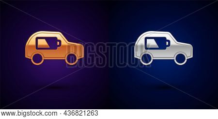 Gold And Silver Electric Car And Electrical Cable Plug Charging Icon Isolated On Black Background. R