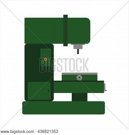 Milling Machine For Metal Work. Metalworking. Vector Illustration.