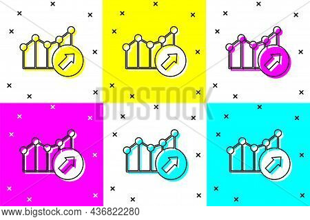 Set Financial Growth Increase Icon Isolated On Color Background. Increasing Revenue. Vector