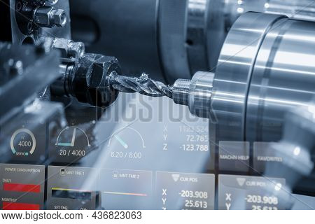 The  Abstract Scene Of Cnc Lathe Machine Bore Cutting And The Dial Indicators. The Hi-technology Met