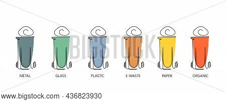 Garbage Containers And Types Of Trash. Colored Dustbin Or Trash Cans For Each Type - Organic, Metal,