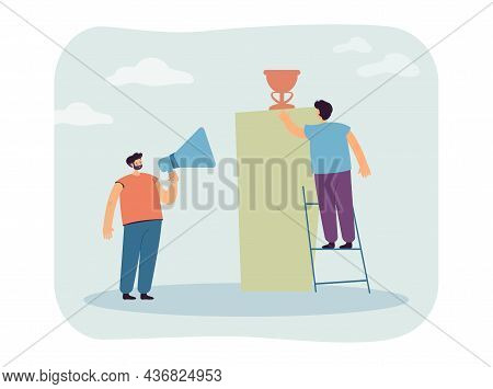 Man With Megaphone Cheering For Friend Reaching For Prize. Male Character Of Ladder Getting Reward F