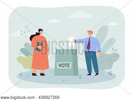 Voter Holding Paper Voting Ballot In Hand For Election. People Standing At Vote Box Flat Vector Illu