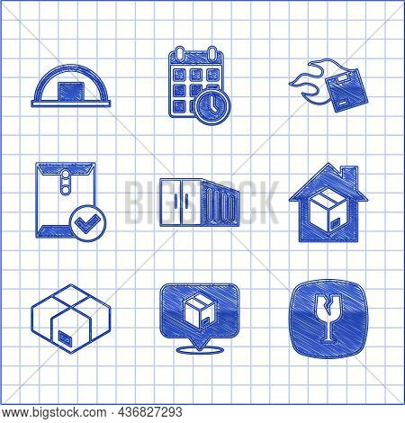 Set Container, Location With Cardboard Box, Fragile Broken Glass, Home Delivery Services, Carton, En