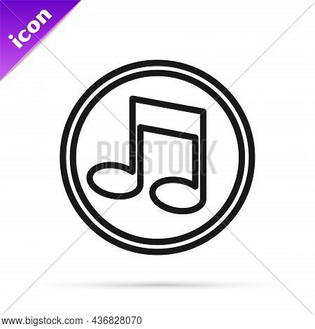 Black Line Music Note, Tone Icon Isolated On White Background. Vector