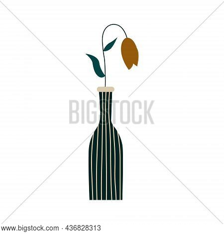 Flower In A Vase Vector Flat Illustration In Cartoon Style. A Beautiful Composition Of Blooming Flow