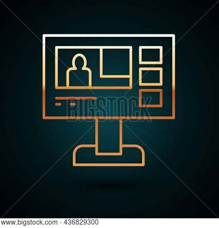 Gold Line Television Report Icon Isolated On Dark Blue Background. Tv News. Vector