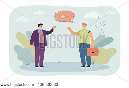 Male Cartoon Colleagues Greeting At Work. Coworkers Saying Hello And Waving Flat Vector Illustration