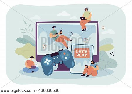 Tiny Gamers Playing In Video Multiplayer Games Online. People Gaming, Using Vr Headset Device, Table