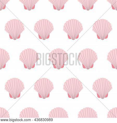 Sea Animal Seamless Pattern With Light Pink Seashell. Undersea World Habitants Print. Hand Drawn Und