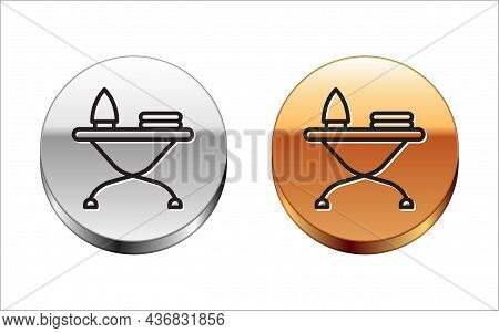 Black Line Electric Iron And Ironing Board Icon Isolated On White Background. Steam Iron. Silver-gol