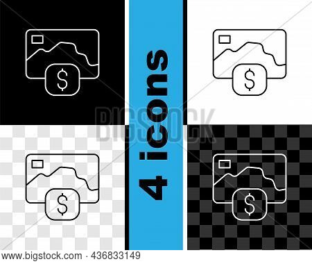 Set Line Credit Card Icon Isolated On Black And White, Transparent Background. Online Payment. Cash