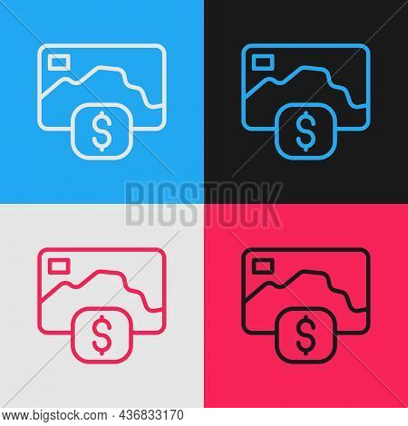 Pop Art Line Credit Card Icon Isolated On Color Background. Online Payment. Cash Withdrawal. Financi