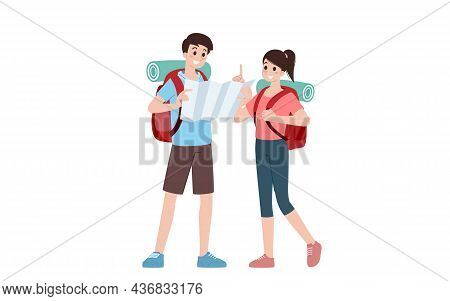 Group Of Young Tourist Characters. Traveling Tourists With Travel Backpack Going On Vacation Trip Af