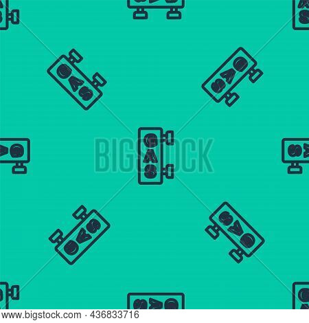 Blue Line Gas Filling Station Icon Isolated Seamless Pattern On Green Background. Transport Related