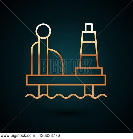 Gold Line Oil Platform In The Sea Icon Isolated On Dark Blue Background. Drilling Rig At Sea. Oil Pl