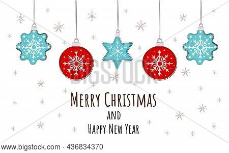 Christmas Toys. Merry Christmas And Happy New Year Greeting Card. Garland With Holiday Decorations I