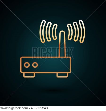 Gold Line Router And Wi-fi Signal Icon Isolated On Dark Blue Background. Wireless Ethernet Modem Rou