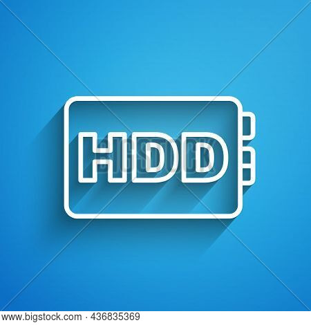 White Line Hard Disk Drive Hdd Icon Isolated On Blue Background. Long Shadow. Vector