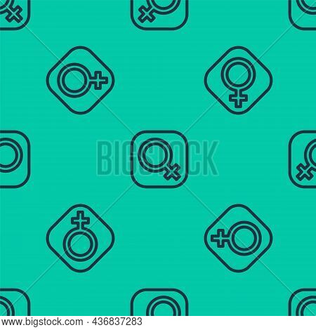 Blue Line Female Gender Symbol Icon Isolated Seamless Pattern On Green Background. Venus Symbol. The