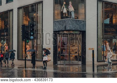 London, Uk - October 02, 2021: Miu Miu Store On Bond Street, One Of The Most Famous Streets For Luxu