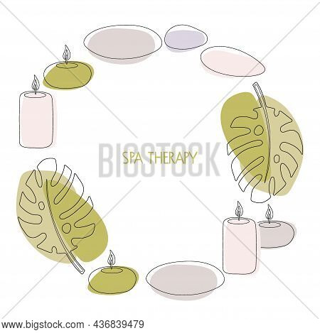 Spa Therapy. Round Frame With Hot Stones, Candles, Tropical Leaves In Fashionable Modern Style In Pa