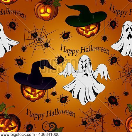 Pattern With Pumpkins And Ghosts.scary Ghosts And Laughing Pumpkins In A Vector Pattern With Spiders