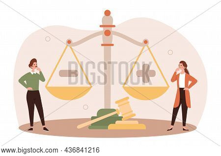 Legal Decisions Concept. Two Girls Standing Near Scales. Weigh Pros And Cons. Decision Making, Asses