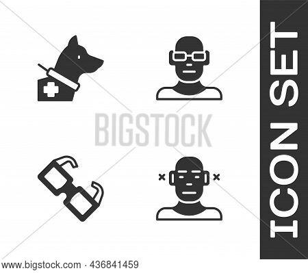 Set Deaf, Guide Dog, Eyeglasses And Poor Eyesight Icon. Vector