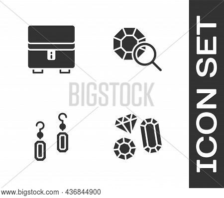 Set Gem Stone, Jewelry Box, Earrings And Icon. Vector