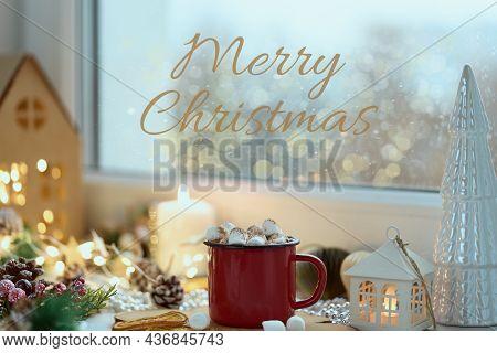 Cozy Home Christmas Card With Text Merry Christmas, Window View Mug Of Hot Chocolate On Windowsill,
