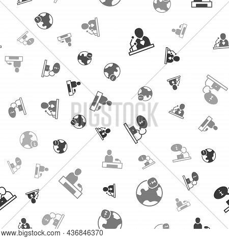 Set Breaking News, World, Television Report And On Seamless Pattern. Vector