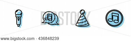 Set Line Party Hat, Microphone, Musical Note In Speech Bubble And Note, Tone Icon. Vector