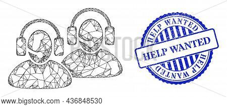 Vector Crossing Mesh Call Center Frame, And Help Wanted Blue Rosette Textured Seal Imitation. Hatche